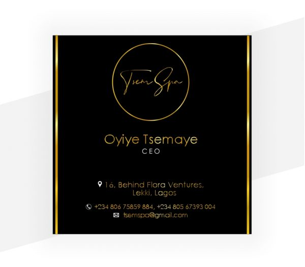 one sided square business card